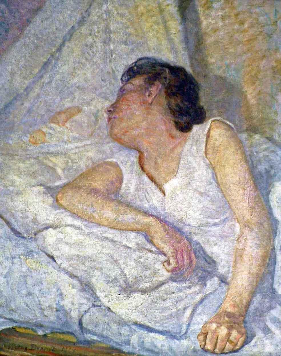 """""""Maternité au Berceau"""", huile sur toile (65cm x 54cm), Salon des Indépendants de 1904, collection Yann Gobert-Sergent."""