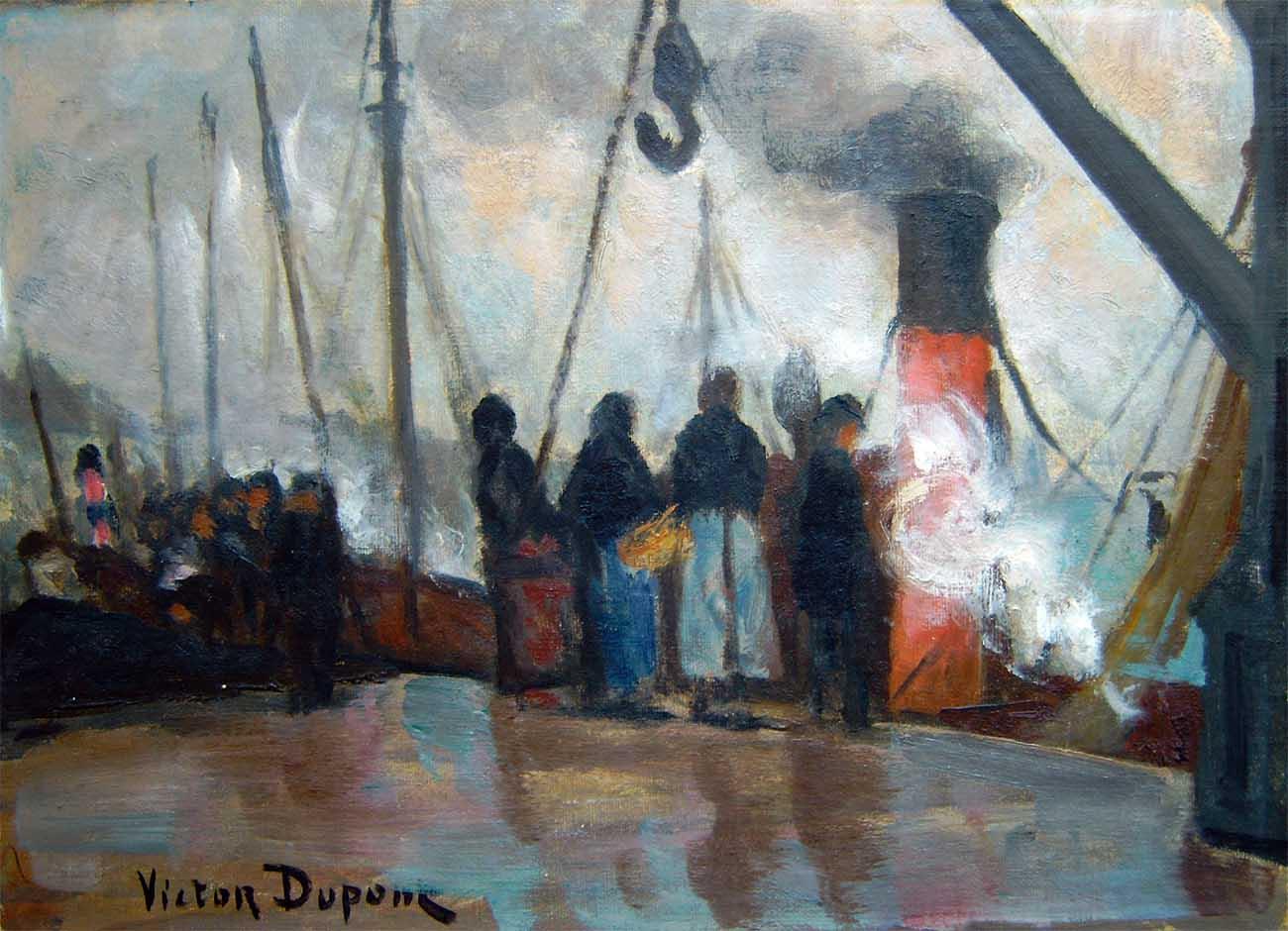 """""""Quai Gambetta à Boulogne-sur-mer"""", huile sur toile (27cm x 35cm), 1907, collection Yann Gobert-Sergent."""