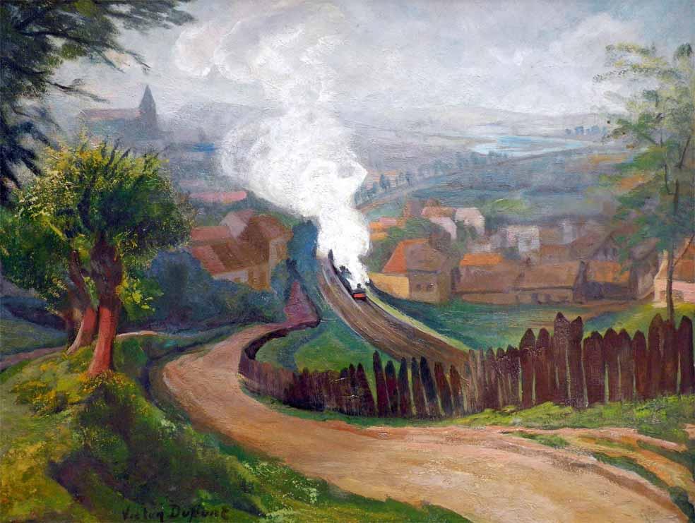 """""""La Voie Ferrée"""", huile sur toile (65cm x 50cm), 1910, collection Yann Gobert-Sergent."""