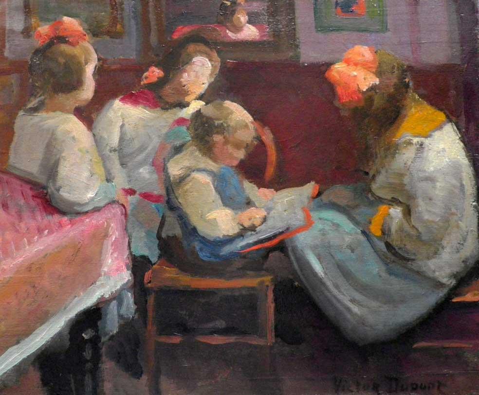 """""""Enfants au Livre"""", huile sur panneau (32cm x 39cm), 1924, collection Yann Gobert-Sergent."""