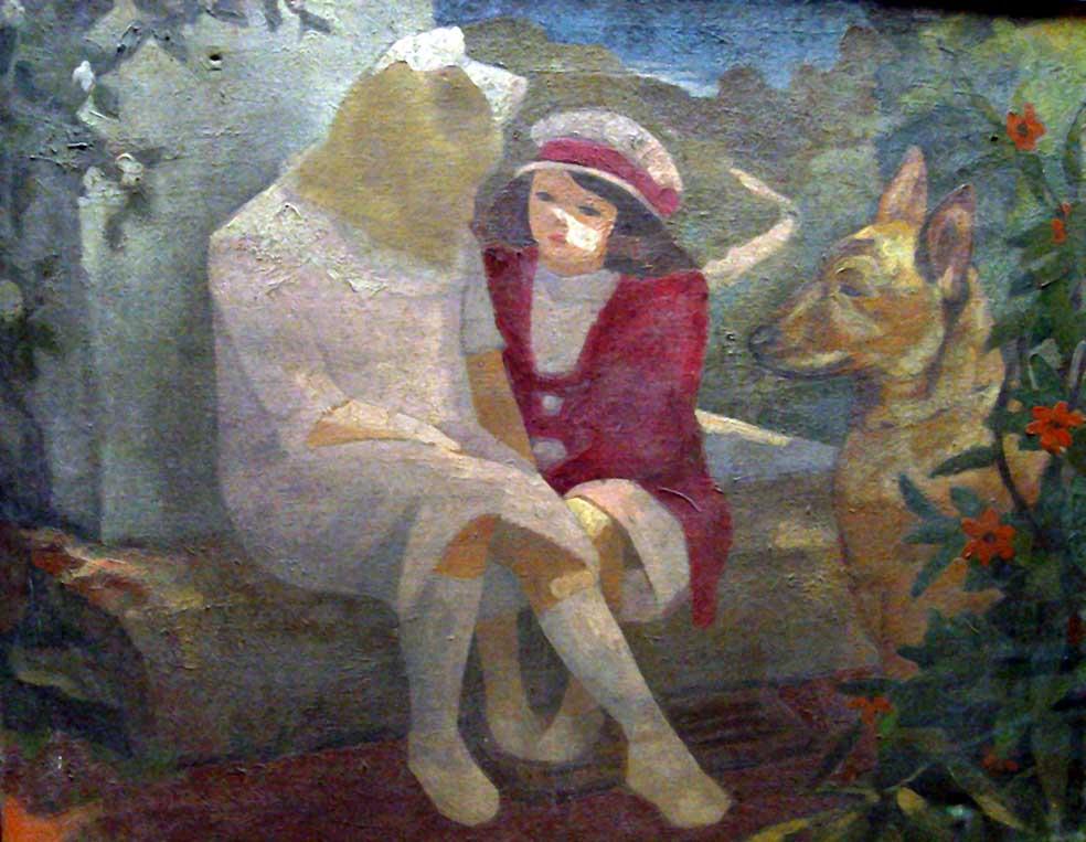 """""""Enfants au Chien"""", huile sur toile (70cm x 85cm), 1920, collection du musée de Boulogne-sur-mer."""