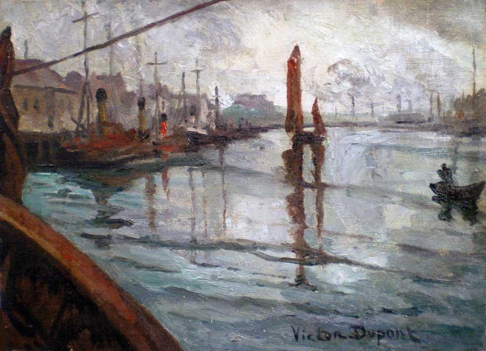 """""""Port de Boulogne-sur-mer"""", huile sur toile (24cm x 33cm), avril 1924, collection Yann Gobert-Sergent."""
