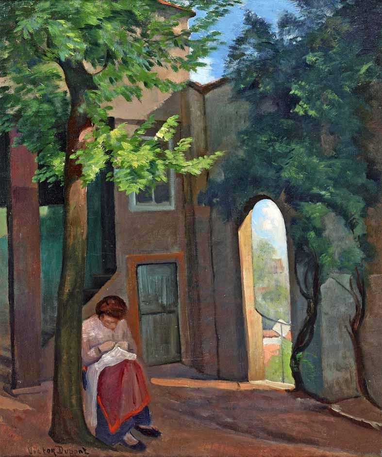 """""""Femme à la Couture"""", huile sur toile (65cm x 54cm), vers 1910, collection privée, France."""