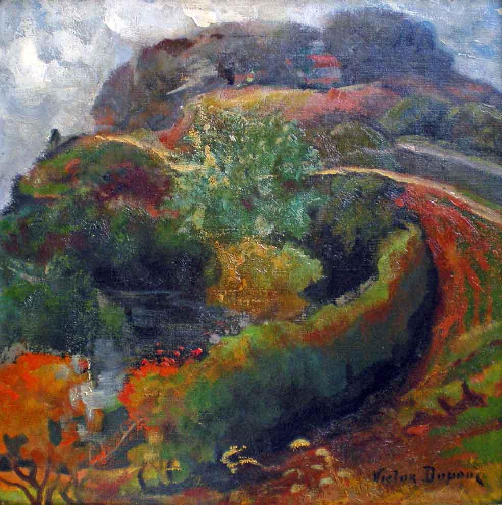 """""""La Maison sur la Colline"""", huile sur toile (43cm x 43cm), années 1900, collection Yann Gobert-Sergent."""