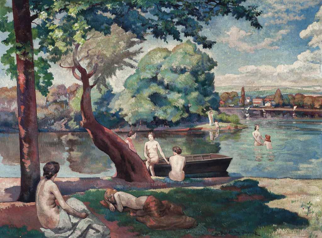 """""""Les Baigneuses"""", huile sur toile (97cm x 130cm), présentée à La Palette Française en mai 1927, collection privée, Belgique."""