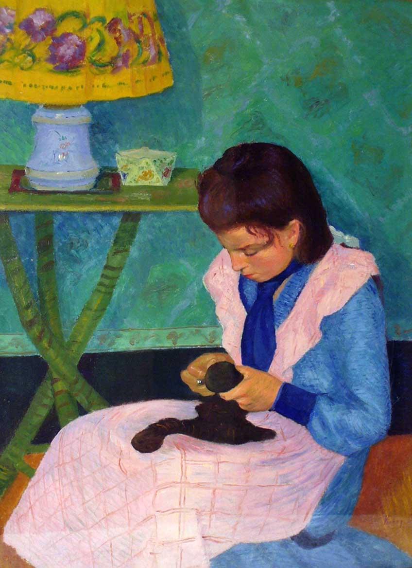 """""""Jeune Fille à la Couture"""", huile sur toile (73cm x 50cm), vers 1900, collection privée, Budapest."""