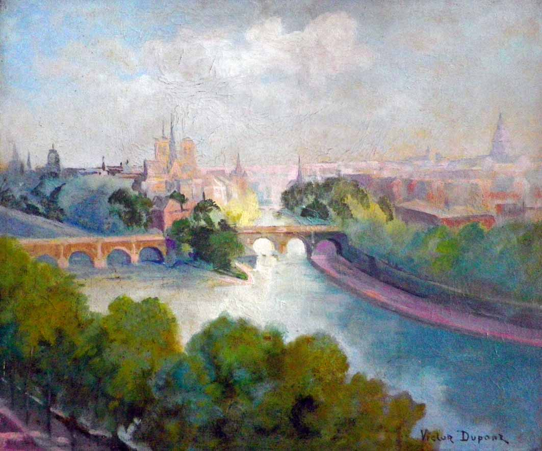 """""""La Cité à Paris"""", huile sur toile (55cm x 46cm), 1933, Salon des Indépendants de 1934, collection Yann Gobert-Sergent."""