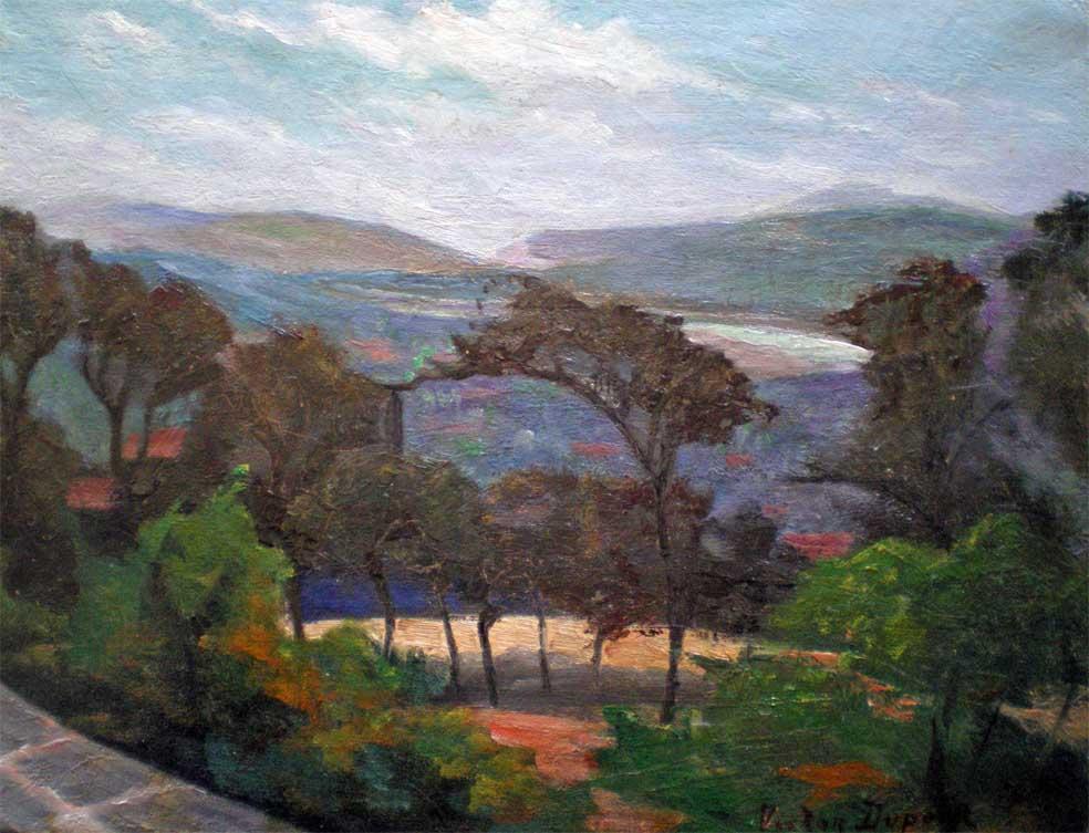 """""""Vallée de la Liane"""", Pas-de-Calais, huile sur toile (35cm x 28cm), 1912, Salon des Indépendants, collection Yann Gobert-Sergent."""