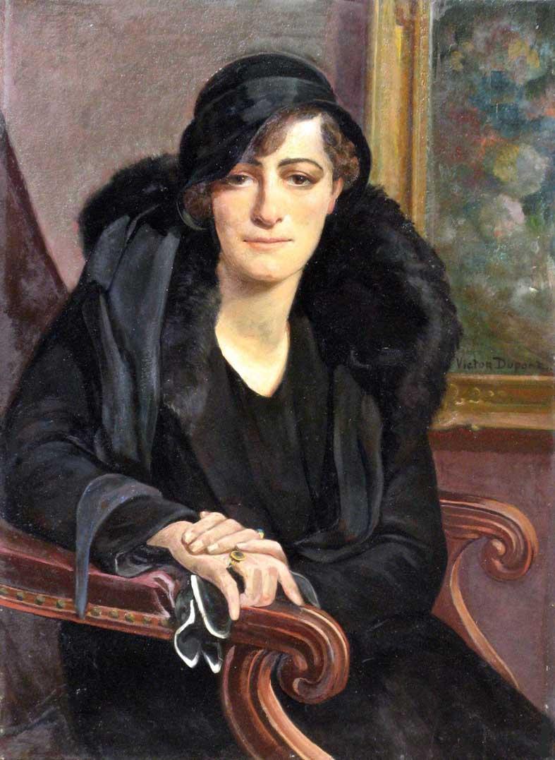 """""""La Dame en Noir"""", huile sur toile (81cm x 60cm), 1932, collection privée, France."""