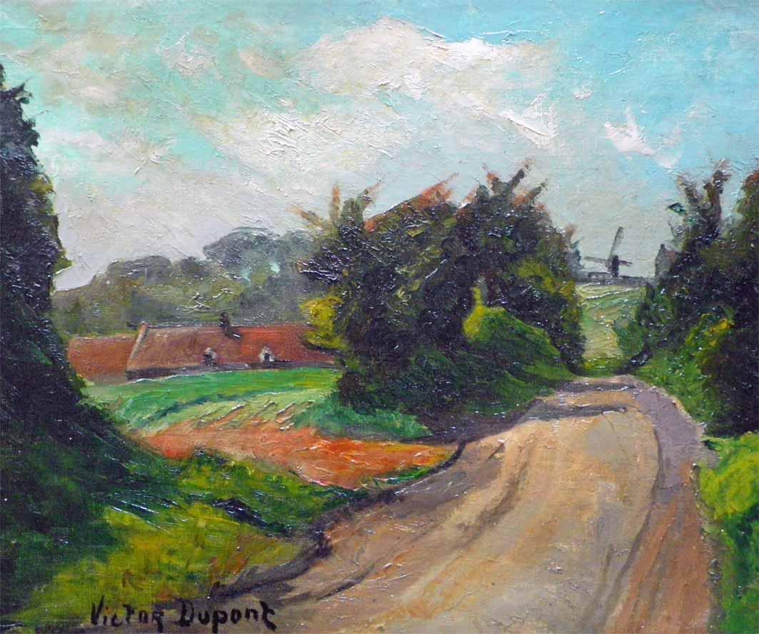 """""""Le Chemin au Moulin"""", huile sur toile (41cm x 33cm), vers 1910, collection Yann Gobert-Sergent."""