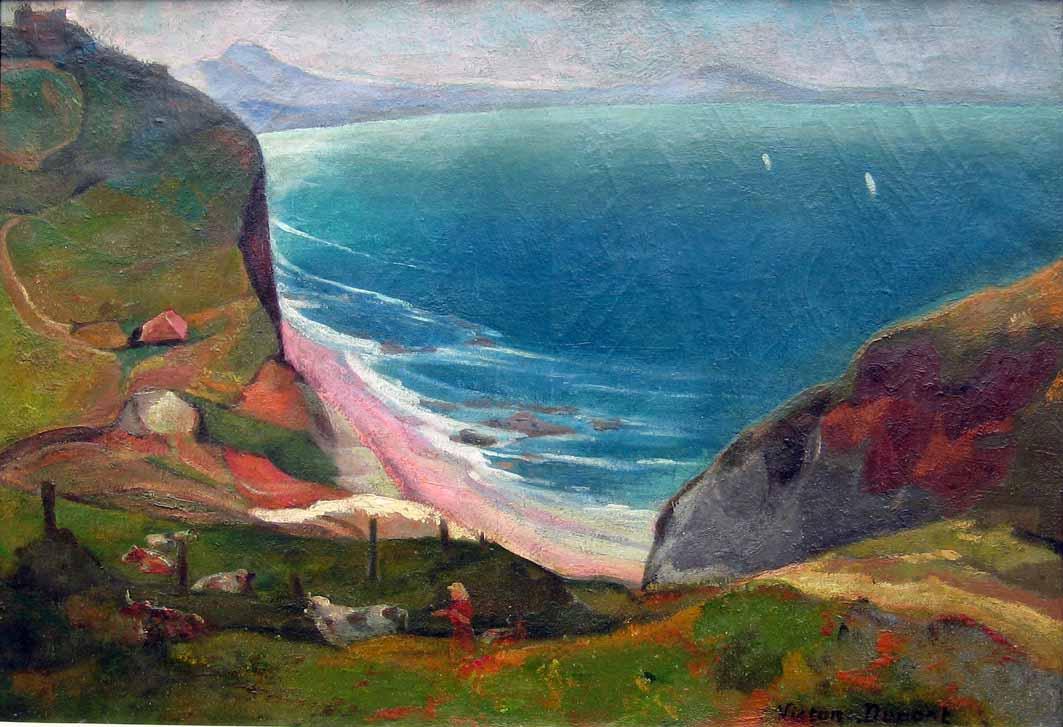 """""""Les Falaises de Bidart"""", huile sur toile (73cm x 50cm), années 1920, collection privée, France."""