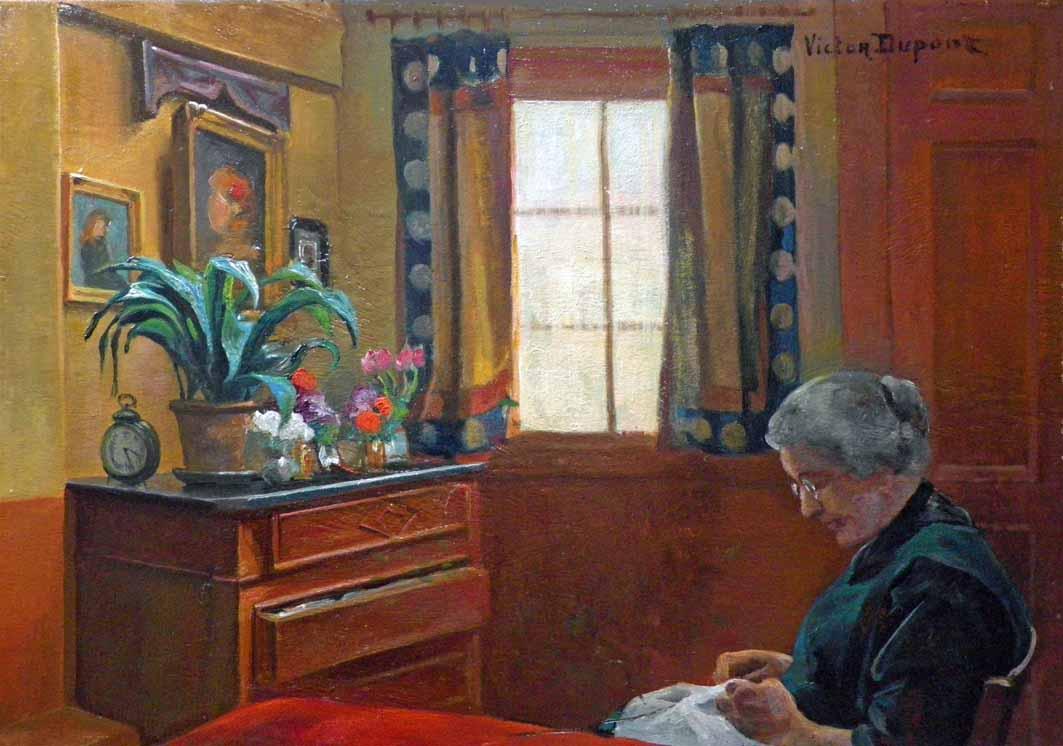 """""""Intérieur"""", huile sur panneau (38cm x 55cm), vers 1930, collection Yann Gobert-Sergent."""