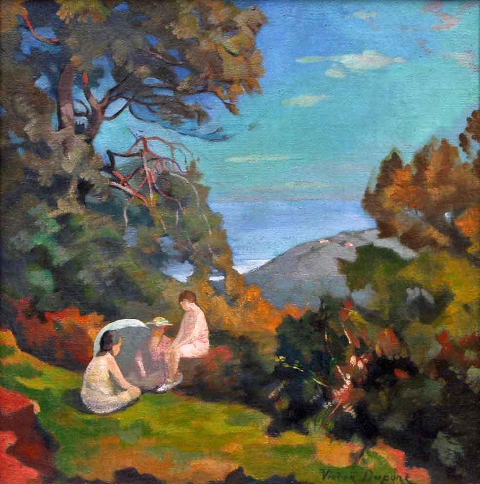 """""""Femmes au Soleil"""", huile sur toile (43cm x 43cm), années 1920, collection privée, Suède."""