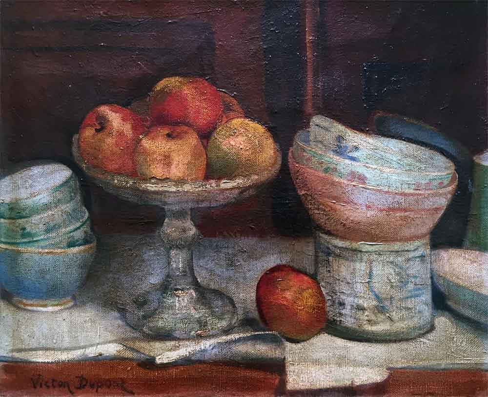 """""""Nature Morte aux Pommes"""", huile sur toile (46cm x 38cm), collection Yann Gobert-Sergent."""