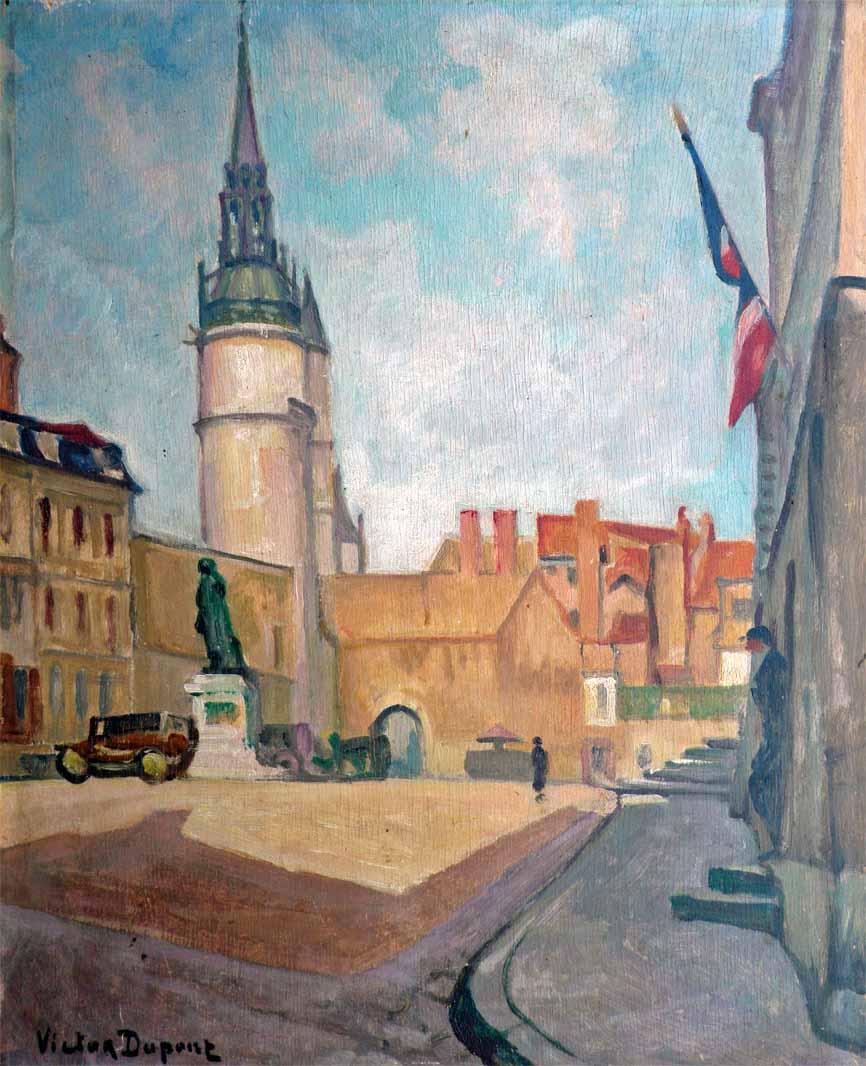 """""""Place à Auxerre"""", huile sur panneau (30cm x 45cm), vers 1925-1930, collection Yann Gobert-Sergent."""