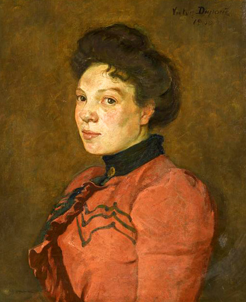 """""""Le Corsage Rouge"""", huile sur toile (55cm x 46cm), 1900, collection du musée départemental de l'Oise, Beauvais.."""