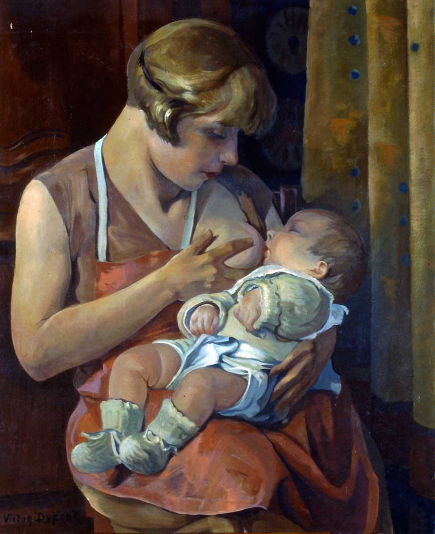 """""""Maternité"""", huile sur toile (73cm x 60cm), vers 1925, """"Exposition Trente Ans d'Art Indépendant, 1884-1914"""", Grand Palais, Paris, 1926, n° 832 collection du musée départemental de l'Oise, Beauvais."""