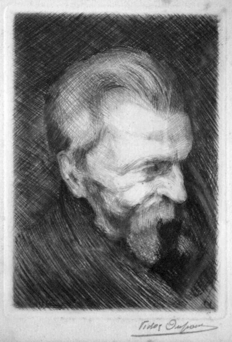 """""""Portrait de Vieil Homme"""", lithographie (15cm x 12cm), vers 1920, collection Yann Gobert-Sergent."""