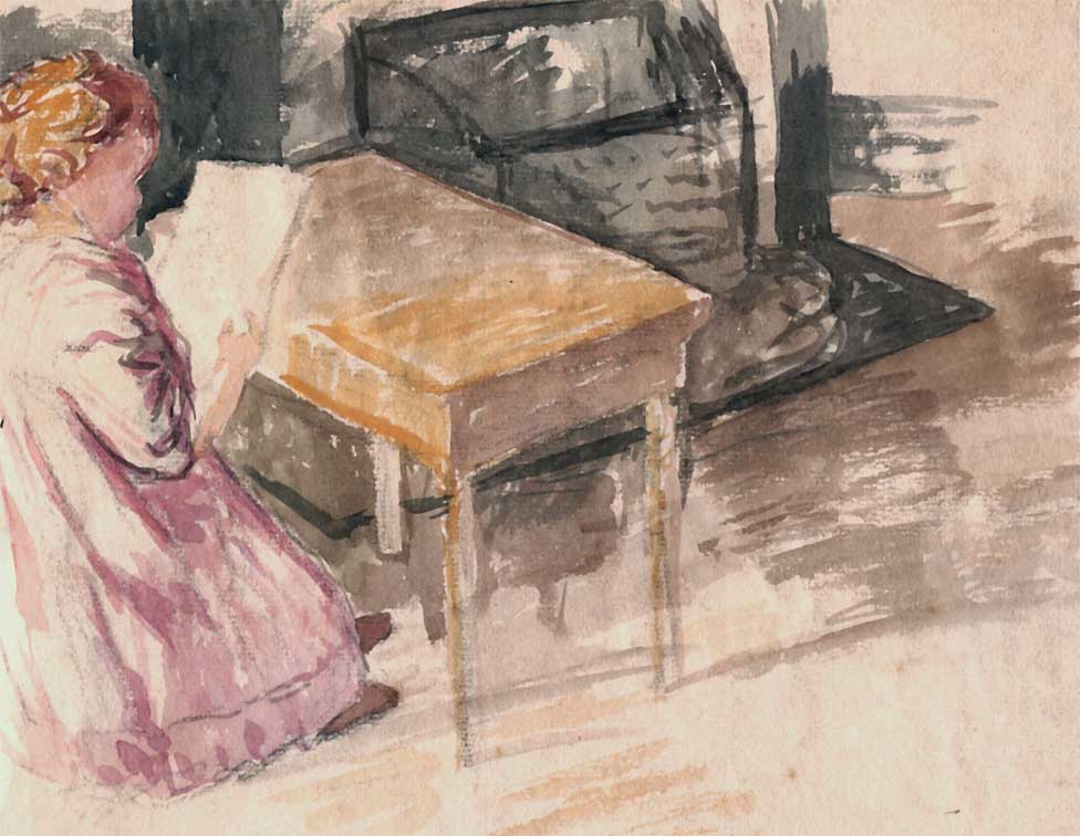 """Enfant à la Lecture"", aquarelle (24cm x 26cm), vers 1910, collection Yann Gobert-Sergent."