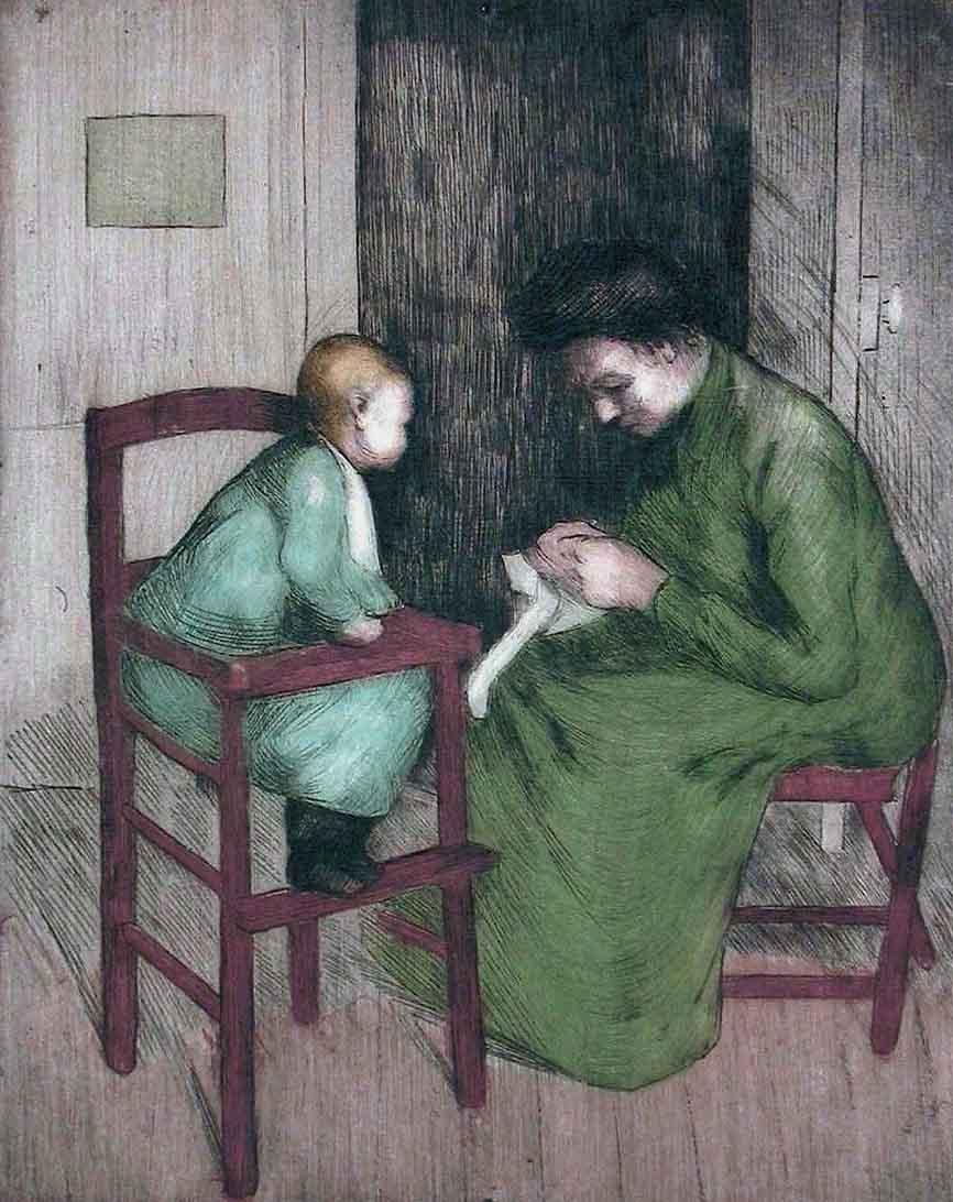 """""""Scène d'Intérieur"""", lithographie colorisée (24cm x 30cm), années 1920, collection Yann Gobert-Sergent."""