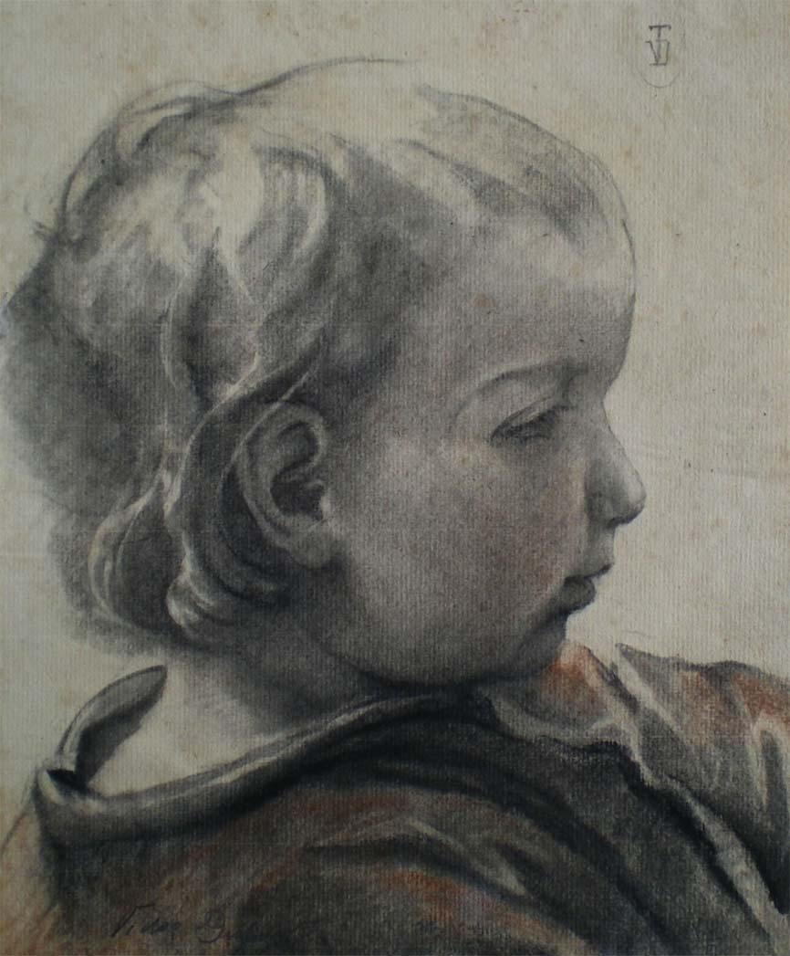 """""""Portrait de la Fille de l'Artiste"""", fusain et sanguine (22cm x 27cm), vers 1920, collection du musée départemental de l'Oise, Beauvais."""