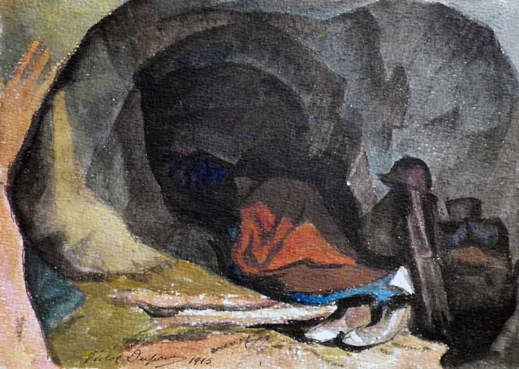 """Casemate"", aquarelle (16cm x 23cm), 1915, collection Yann Gobert-Sergent."