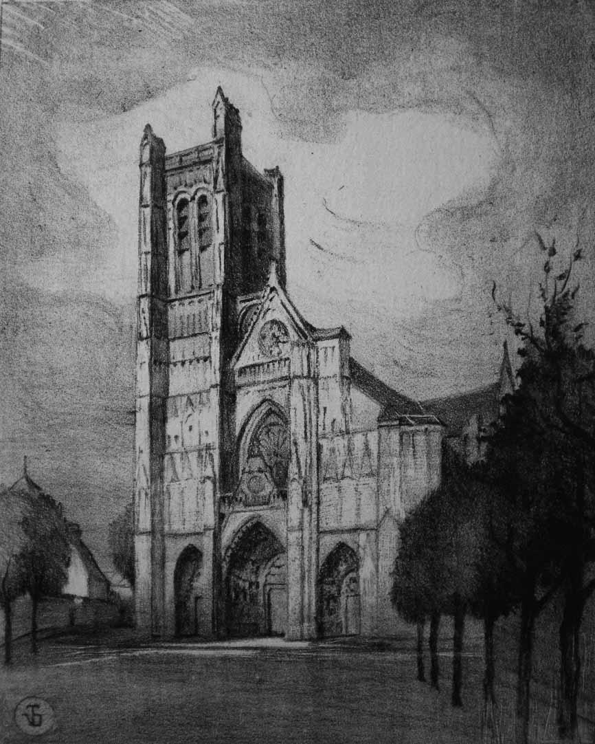 """""""Cathédrale d'Auxerre"""", lithographie (20cm x 25cm), 1928, collection Yann Gobert-Sergent."""