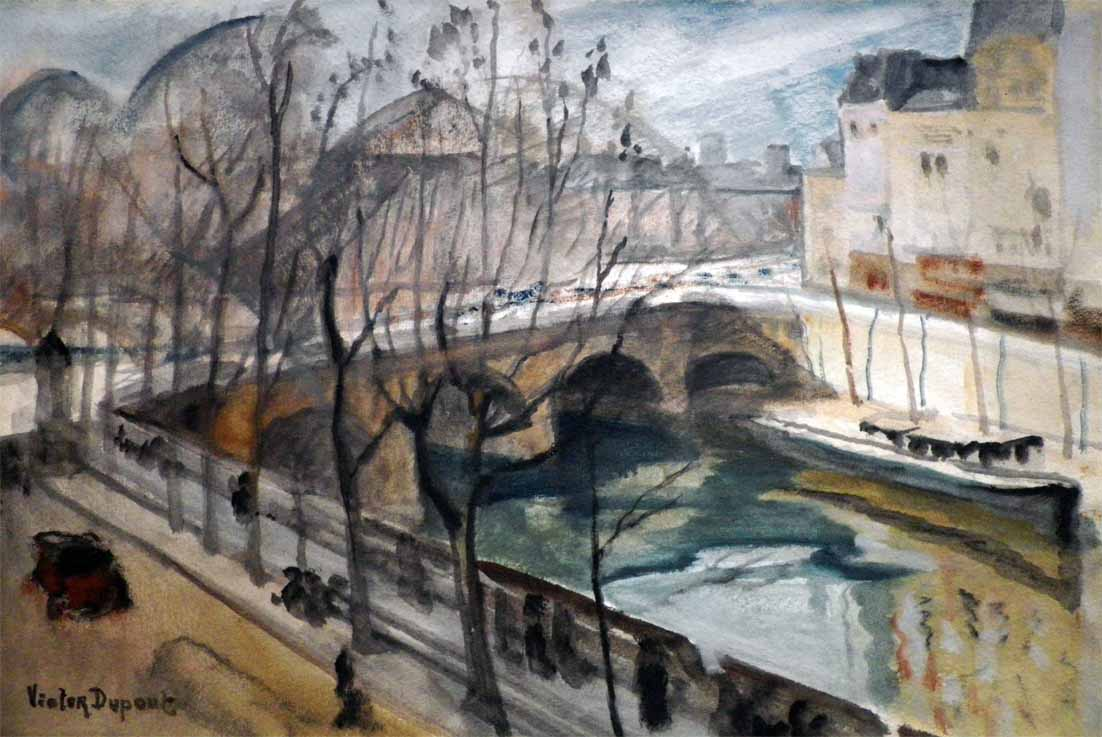 """Vue de la Seine à Paris, prise du Pont Marie"", aquarelle (50cm x 33cm), 1917, collection Yann Gobert-Sergent."