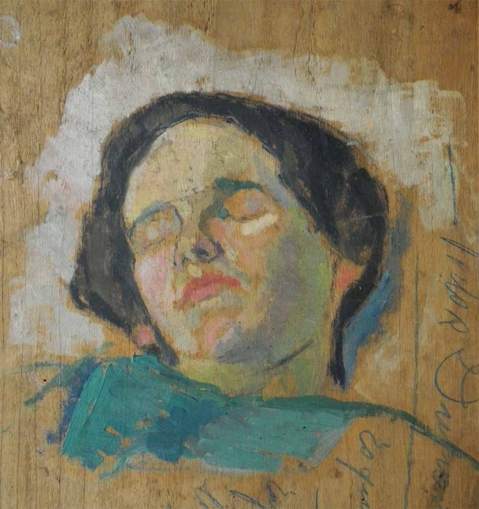 """""""Étude de Tête"""", huile sur panneau (32cm x 39cm), 1924, collection Yann Gobert-Sergent."""