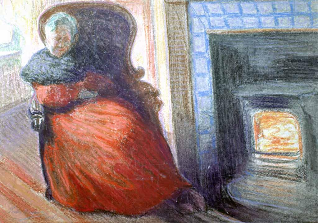 """""""Vieille Femme au Poêle"""", fusain (17cm x 23cm), années 1920, collection privée, France."""