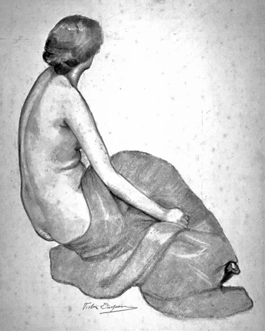 """""""Femme Nue de Dos"""", dessin au crayon (17cm x 23cm), années 1920, collection privée, France."""