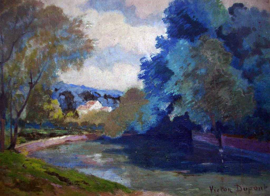 """""""Paysage à la Rivière"""", huile sur toile (46cm x 33cm), années 1920, collection privée, France."""