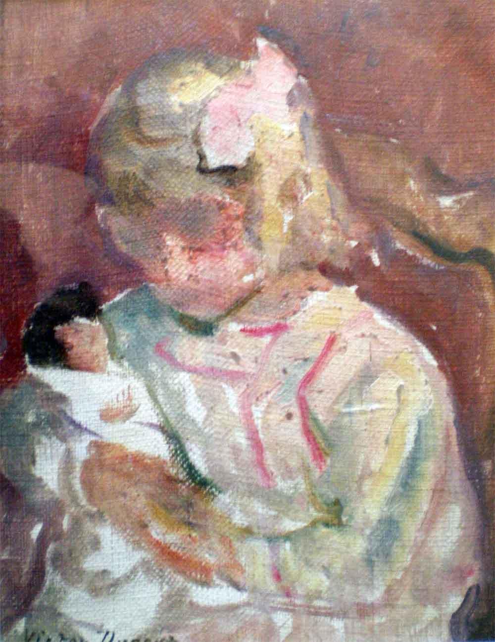 """""""Fillette à la Poupée"""", huile sur toile (15cm x 20cm), années 1920, collection JLM, France."""