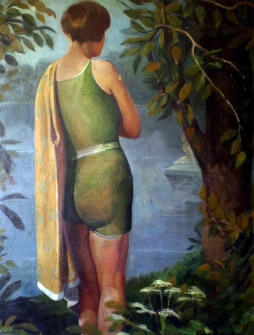 « Jeune Fille à la Rivière », huile sur toile (72cm x 91cm), vers 1930, collection JLM, France.