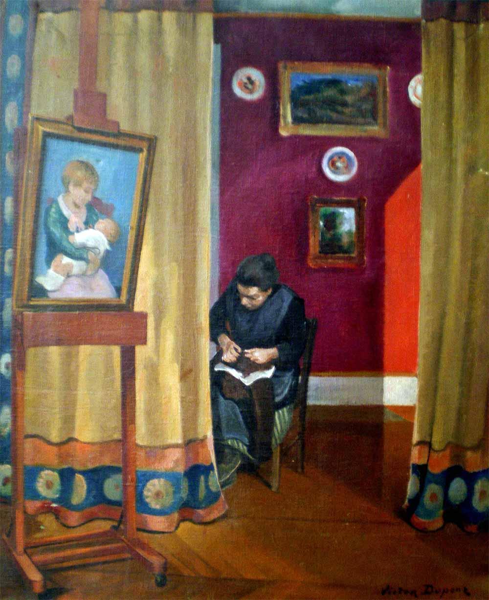 « Intérieur Ensoleillé », huile sur toile (65cm x 82cm), vers 1920, collection JLM, France.