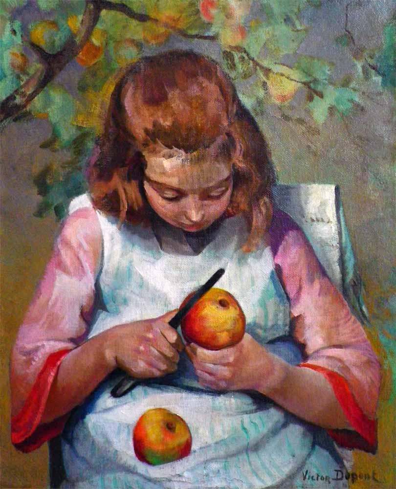 """""""Fillette aux Pommes"""", huile sur toile (61cm x 50cm), Salon d'Automne de 1925, collection Yann Gobert-Sergent."""