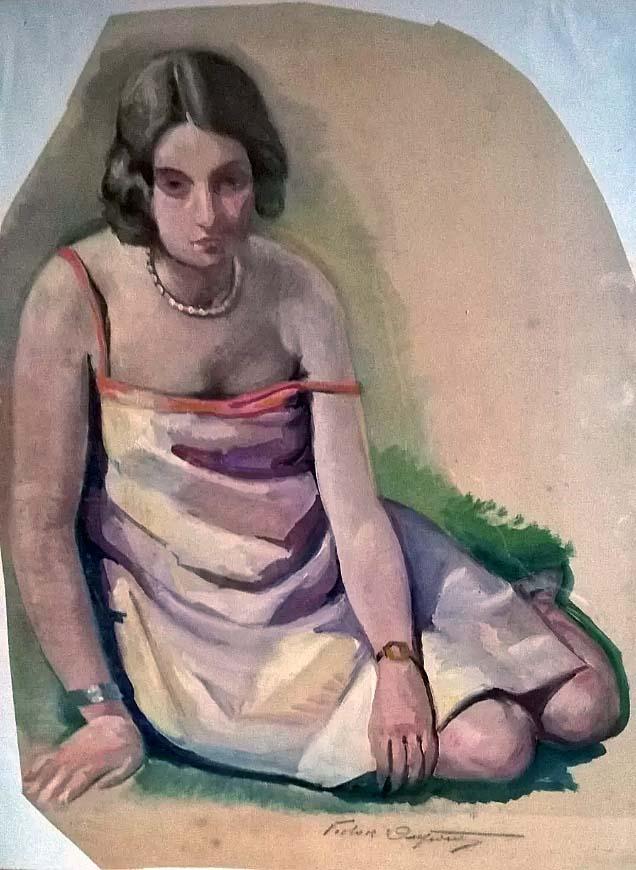 """""""Jeune Fille dans l'Herbe"""", aquarelle (40cm x 50cm), vers 1924, collection Yann Gobert-Sergent, France."""