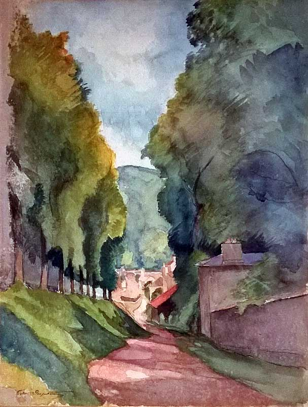 """Chemin aux Grands Arbres"", aquarelle (52cm x 40cm), années 1920, collection privée, France."
