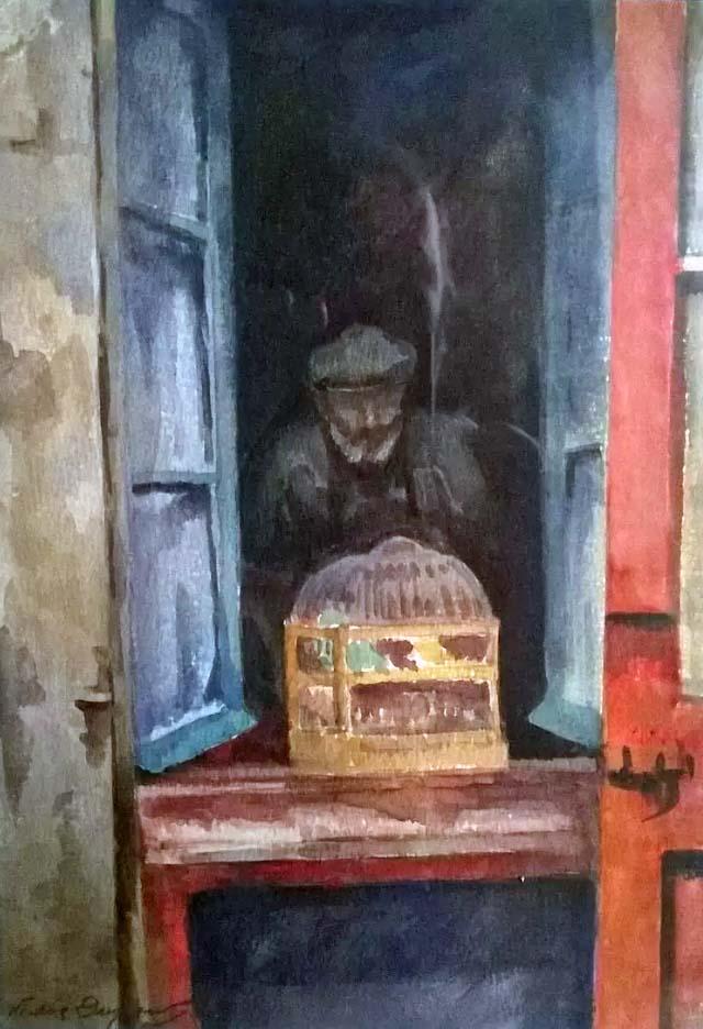 """""""L'Homme aux Oiseaux"""" (père de l'artiste), aquarelle, vers 1920, collection Yann Gobert-Sergent, France."""