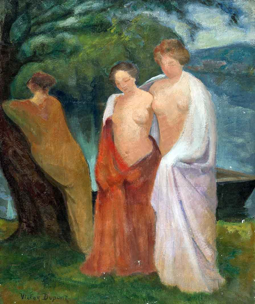 """""""Les Trois Grâces"""", huile sur toile (54cm x 64cm), 1927, collection privée, France - étude pour « Les Baigneuses », huile sur toile (97cm x 130cm), présentée à La Palette Française en mai 1927, collection privée, Belgique."""