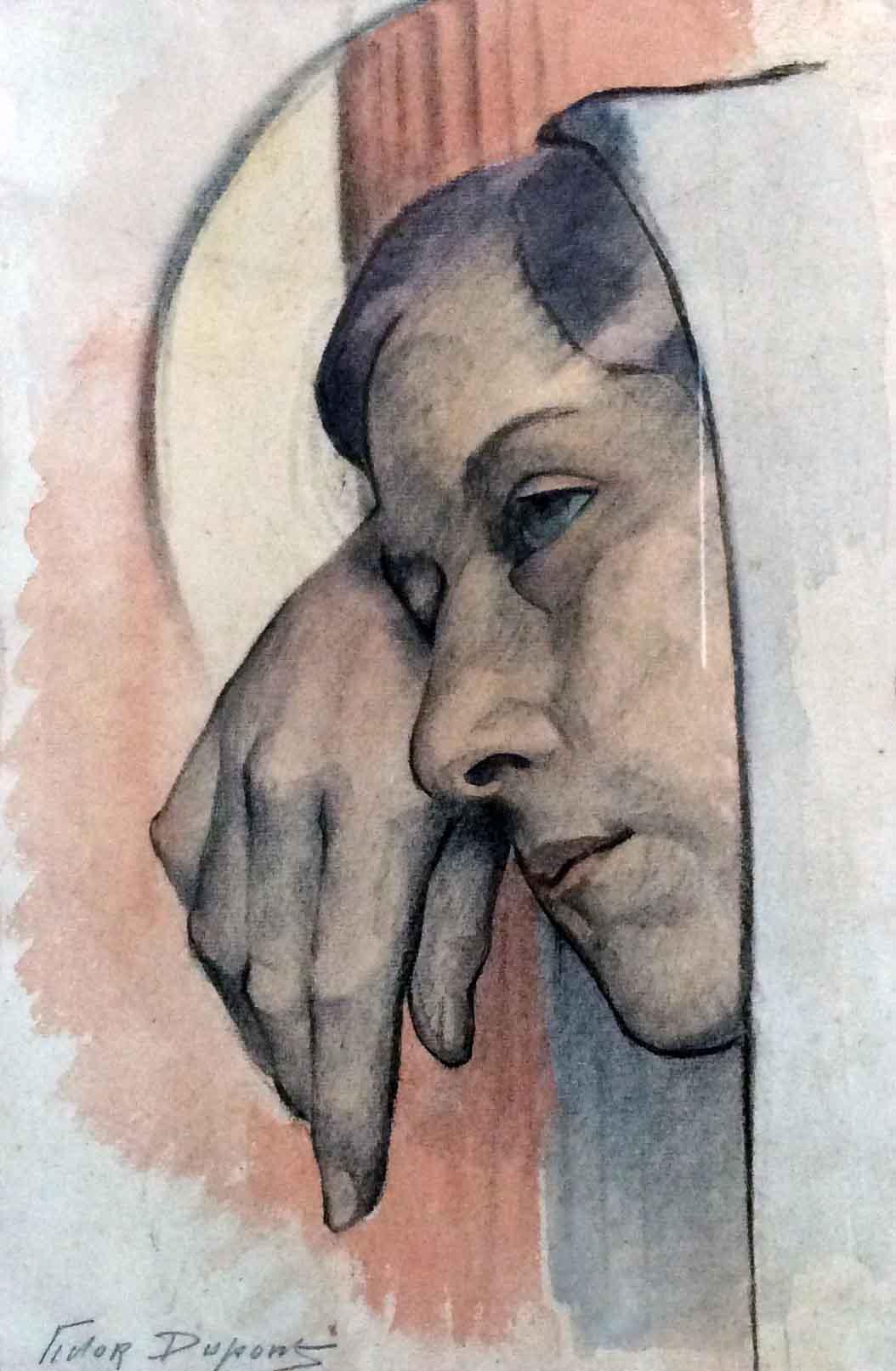 """""""Mère Douloureuse"""", aquarelle (17cm x 23cm), présentée à l'exposition de Saint-Quentin (mars-avril 1926), collection privée, France. Étude pour le tableau """"Marie-Madeleine au Pied de la Croix""""."""