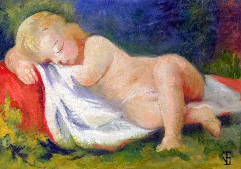 """""""Enfant Endormi"""", huile sur panneau (36cm x 26cm), années 1920, collection J-P Dupont, France."""