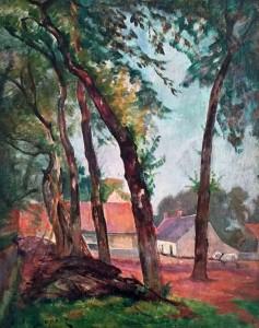 """""""Ferme aux Grands Arbres"""", huile sur toile (41cm x 33cm), collection Yann Gobert-Sergent."""
