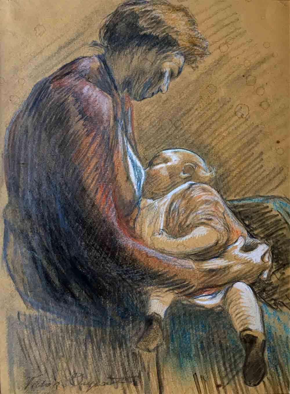 """""""Maternité"""" par Victor Dupont, aquarelle et crayon (23cm x 15cm), années 1920, collection Yann Gobert-Sergent."""