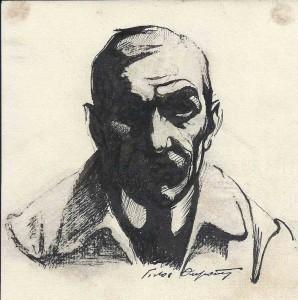 """""""Autoportrait"""", encre (14cm x 14cm), vers 1925, collection Yann Gobert-Sergent, France."""