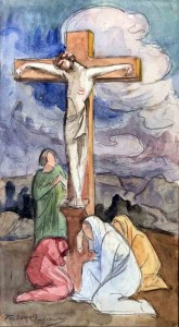 """""""Christ aux Vocations"""", esquisse, aquarelle gouachée (30cm x 17cm), Société Nationale des beaux-Arts de 1930, Fondation Victor Dupont."""