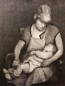 """""""Maternité au Tablier"""", lithographie éditée en 12 exemplaires (30cm x 23cm), numéro 3, collection Yann Gobert-Sergent."""